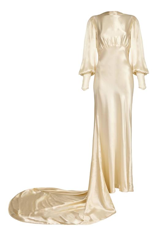 10ee984860f9 Extraordinary vintage 1930s wedding dress in soft ivory silk satin with  high neck