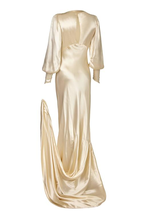 168e0032d5 1930s Silk Satin Bias Cut Ivory Wedding Dress In Excellent Condition For  Sale In London
