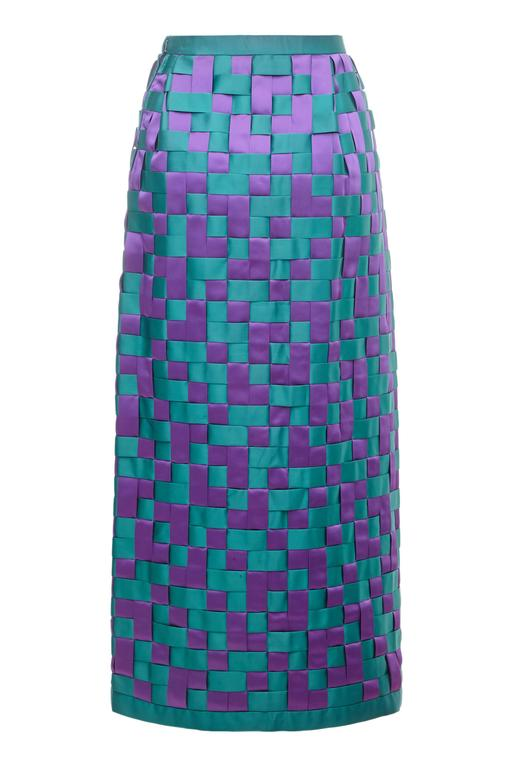 1960s Couture Green Purple Woven Satin Long Pencil Skirt 2
