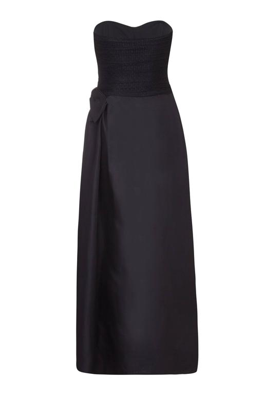 1980s YSL Strapless Black Dress with Bow Details  2