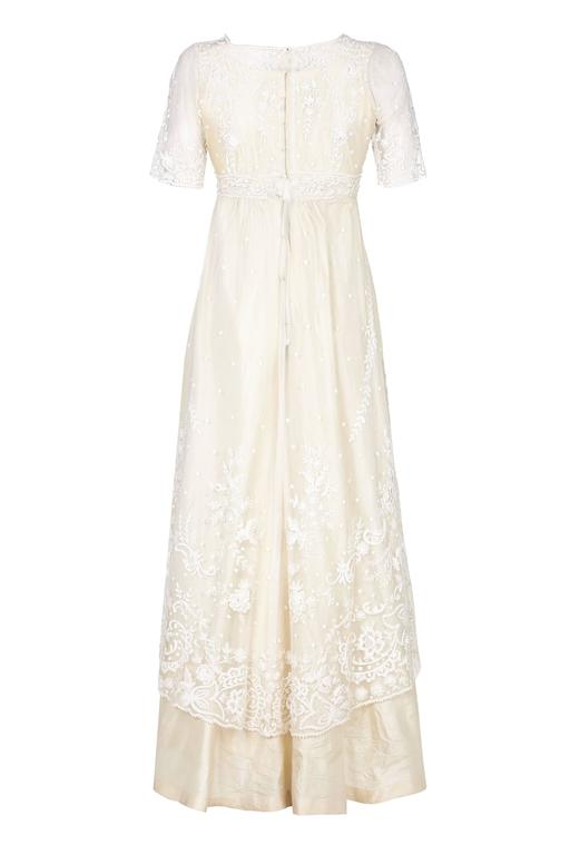 White Pristine Edwardian Hand Made Lace & Silk Wedding Dress  For Sale
