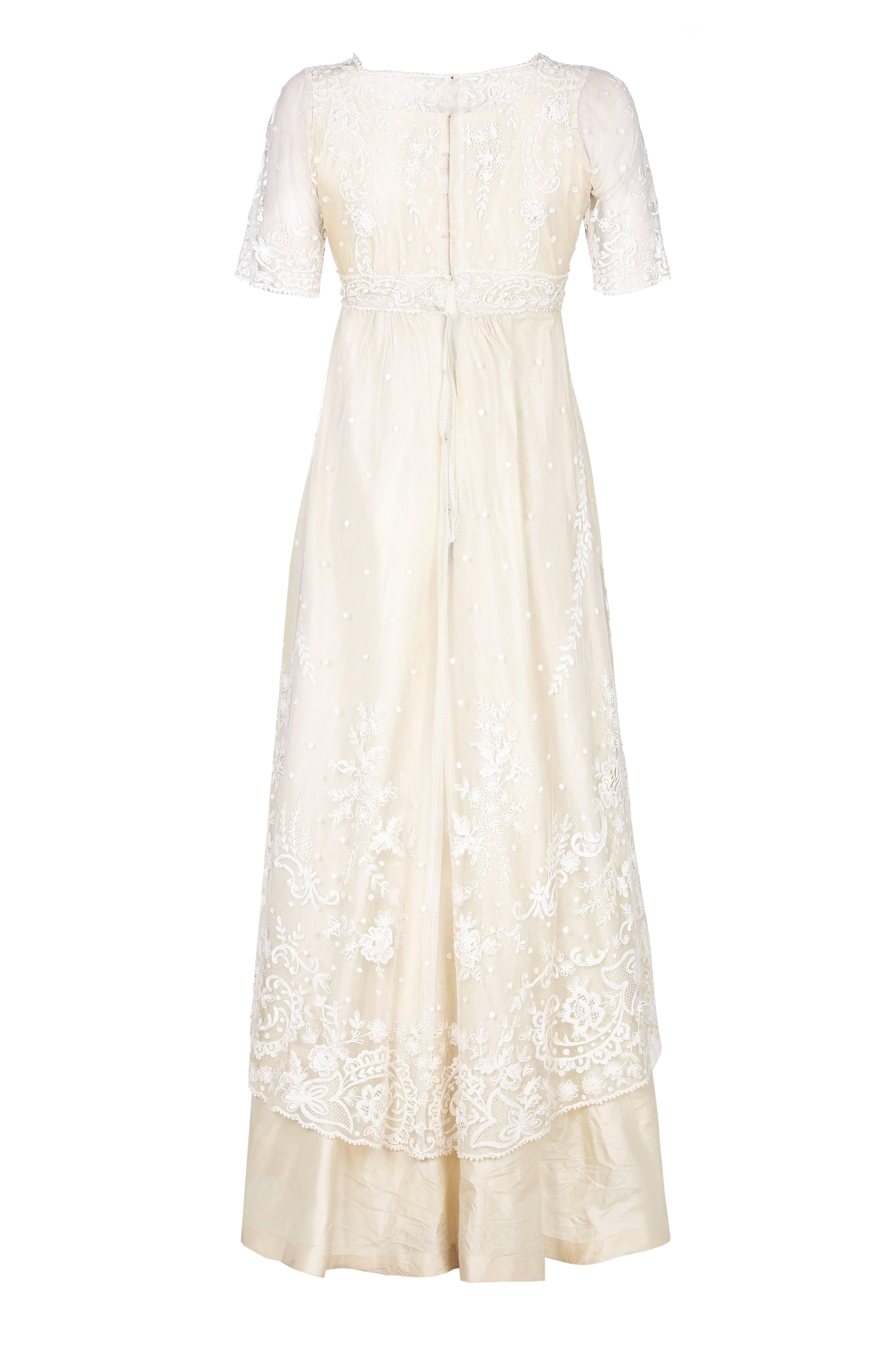 Pristine Edwardian Hand Made Lace and Silk Wedding Dress For Sale at ...