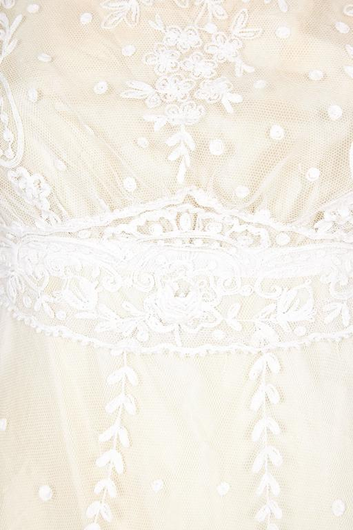 Pristine Edwardian Hand Made Lace & Silk Wedding Dress  In Excellent Condition For Sale In London, GB