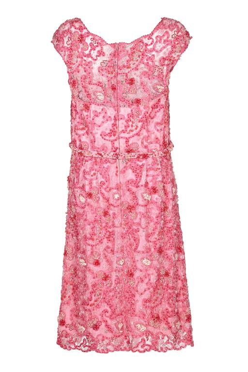 0737b9bfec4e 1960s Norman Hartnell Pink Beaded Dress Owned by Dame Barbara ...