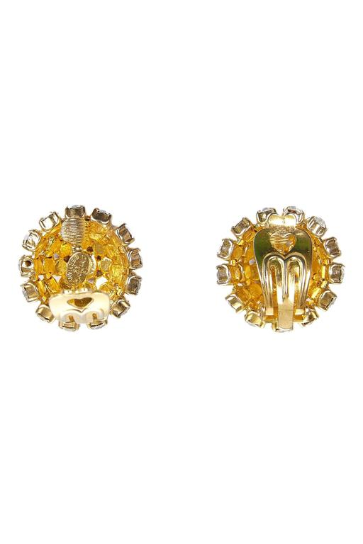 1965 Christian Dior Gold Plated Diamante Bombe Earrings 2