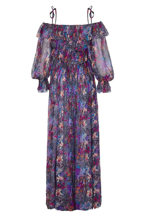 Utterly gorgeous vintage 1970s couture Renato Balestra silk chiffon dress with very pretty multi-coloured floral print on a grey background.  This boho style piece features a ruffled bodice with off shoulder sleeves and shoulder straps that tie.