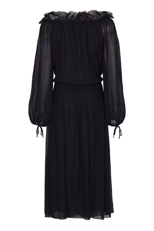 1970s Christian Dior Boutique Couture Label Black Silk Chiffon Dress 2