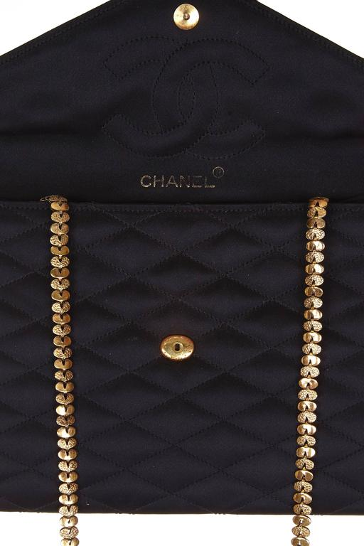 Rare 1980s Chanel Black Satin Gripoix Stone Bag In Excellent Condition For Sale In London, GB