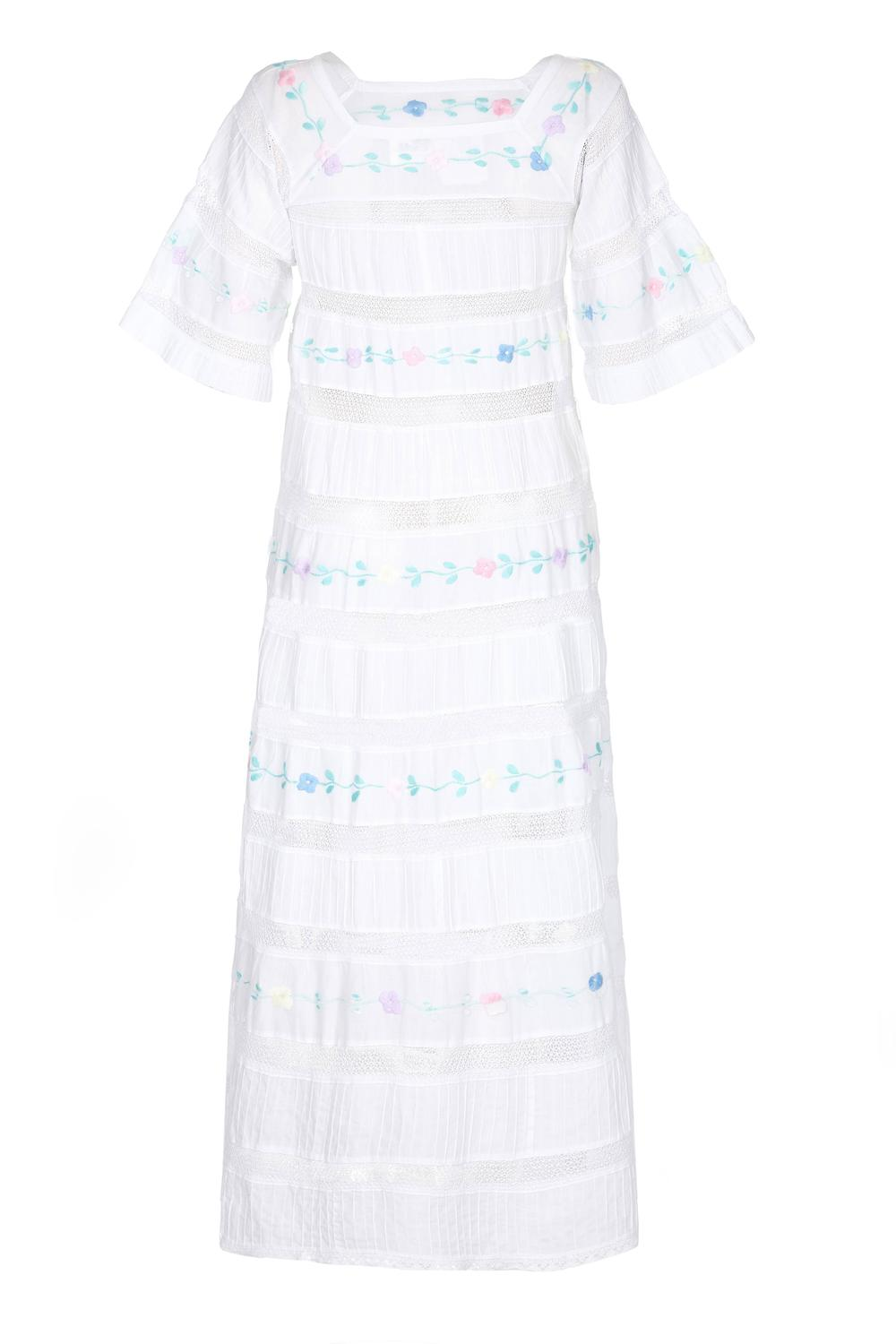 1970s tachi castillo white embroidered cotton mexican for 1970s wedding dresses for sale