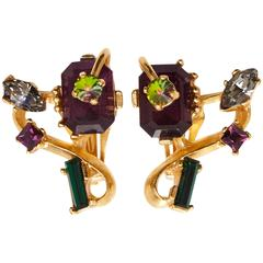 1980s Christian Lacroix Gem Set Earrings