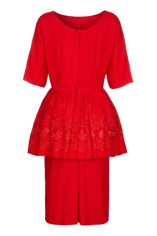 1950s/60s Red Cotton Dress with Embroidered Peplum  2