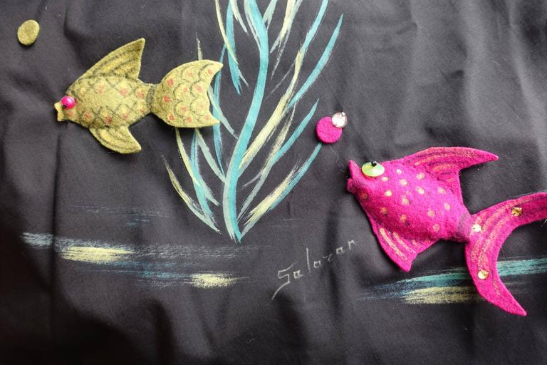 Women's 1950s Marjorie Montgomery Black Cotton Novelty 3D Hand Painted Fish Print Dress For Sale