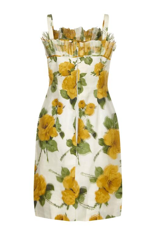 1950s French Couture Silk Organza Floral Print Dress And
