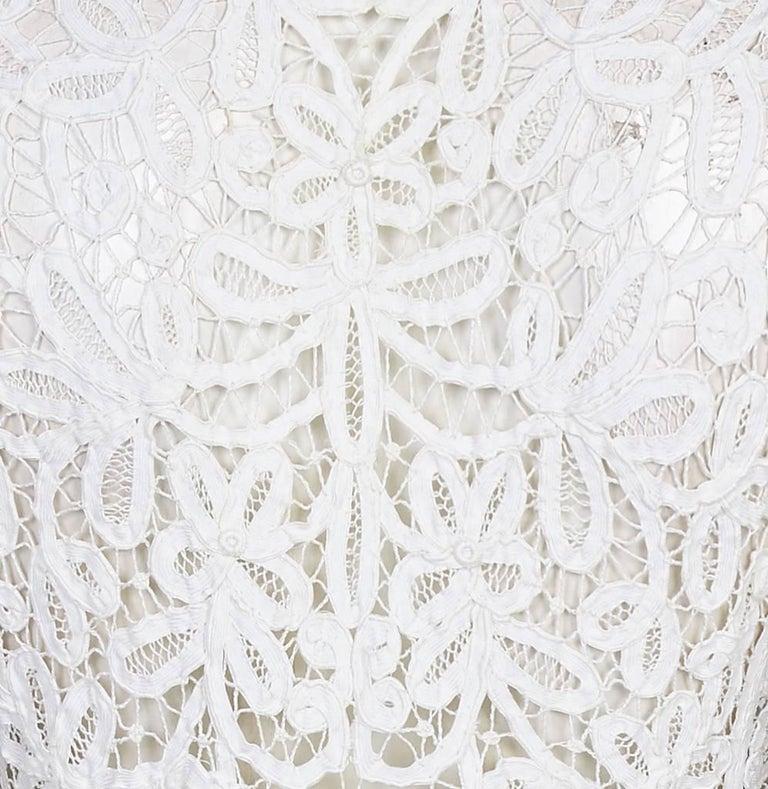 1910s Antique White Battenburg or Princess Tape Lace Bridal Dress Jacket 3