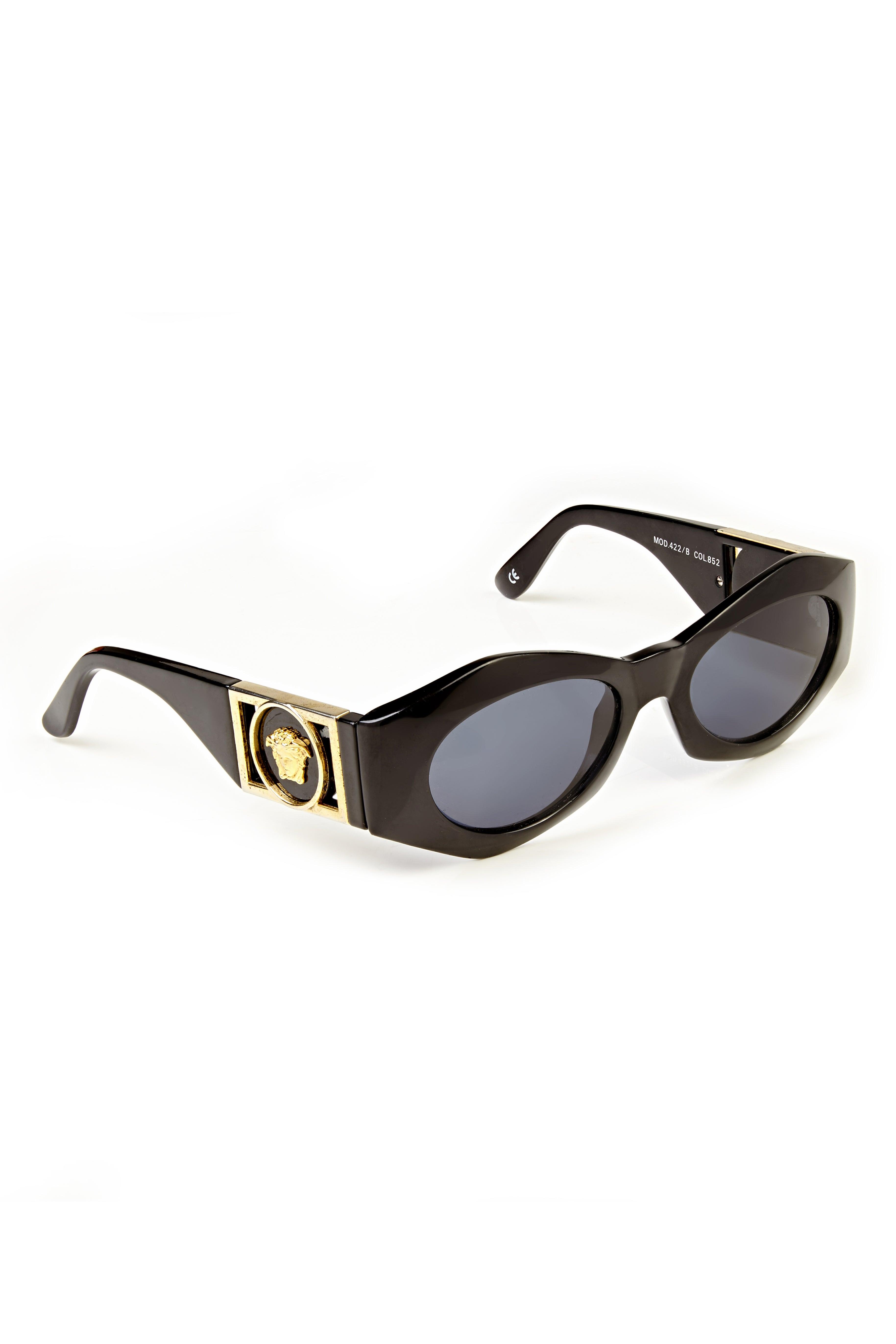 2e847c3f29 1990s Gianni Versace Black Medusa Vintage Sunglasses with Case Mod 422 Col  852 at 1stdibs