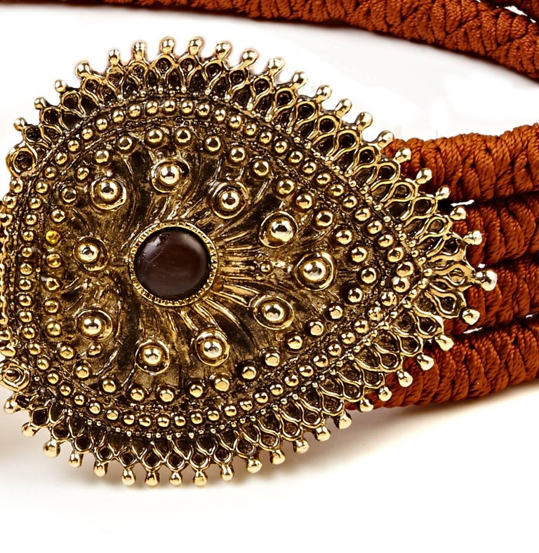 Brown Yves Saint Laurent 1980s Rope belt with Bronze Metallic Clasp and Cabochons For Sale