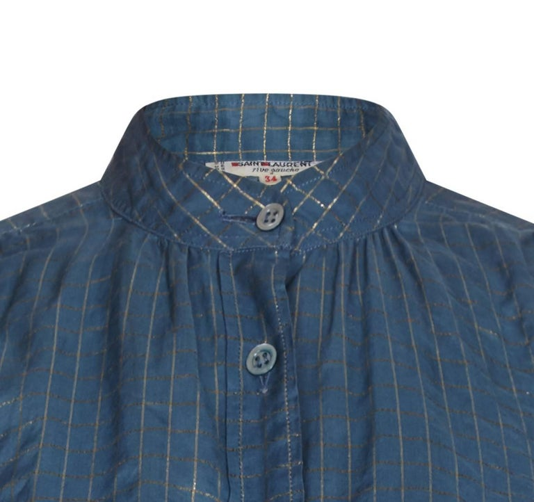 1970s Yves Saint Laurent Blue and Gold Thread Checked High Necked Blouse In Excellent Condition For Sale In London, GB