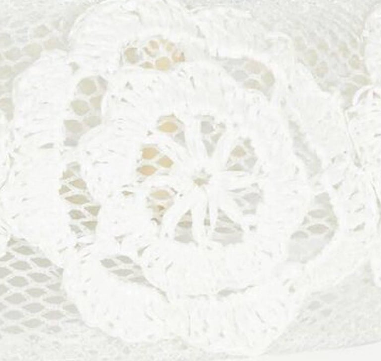 ed4edca8cdd46 Gray Vintage 1960s Italian White Raffia Bridal Cap With Floral Design For  Sale
