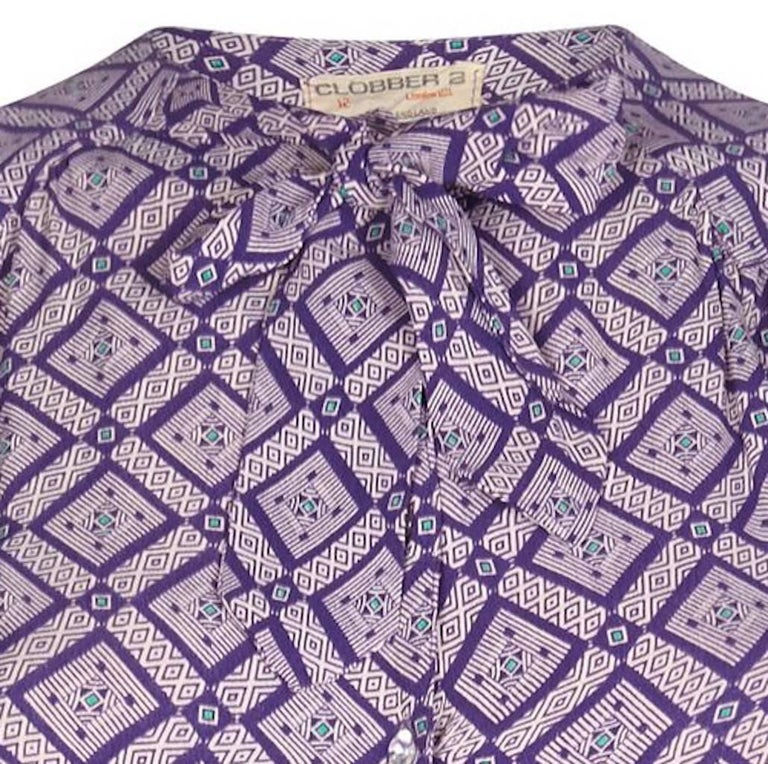 Gray Jeff Banks 1970s Geometric Patterned Purple Blouse With Pussy Bow Collar For Sale