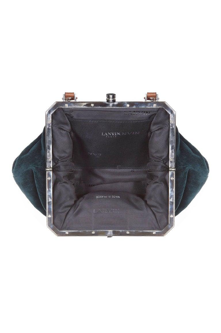 2000s Alber Elbaz Era Lanvin Green Velvet Josephine Art Deco Shoulder Bag In Excellent Condition For Sale In London, GB