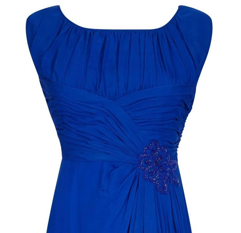 1950s Couture Cobalt Blue Silk Chiffon Evening Dress With Matching Slip In Excellent Condition For Sale In London, GB
