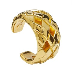 Chanel Goldtone Matelassé Cuff bracelet, 1990s
