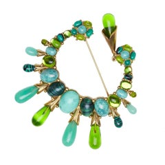 Large Christian Dior Crescent Brooch With Tear Drop and Green Glass Cabochons