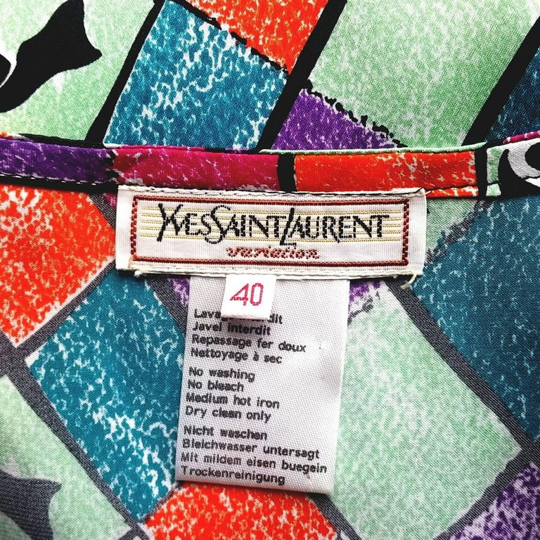 Yves Saint Laurent 1990s Harlequin Print Sleeveless Top  In Excellent Condition For Sale In London, GB