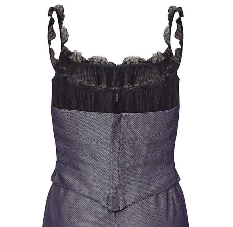 Women's Thierry Mugler Couture Denim Dress With Tailored Black Silk Bodice, 1990s  For Sale