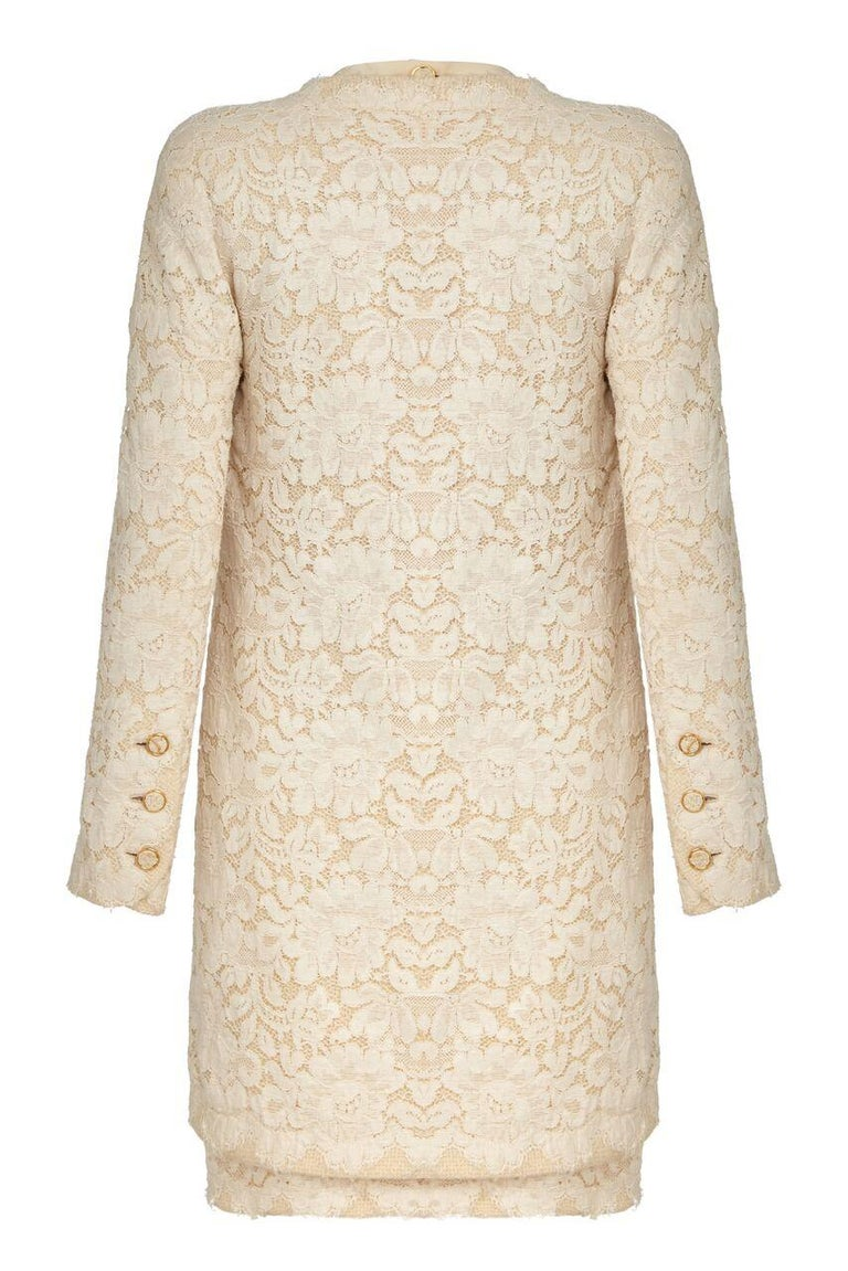 Chanel Haute Couture Bridal Cream Dress Suit With Lace Overlay, 1980s  In Excellent Condition For Sale In London, GB