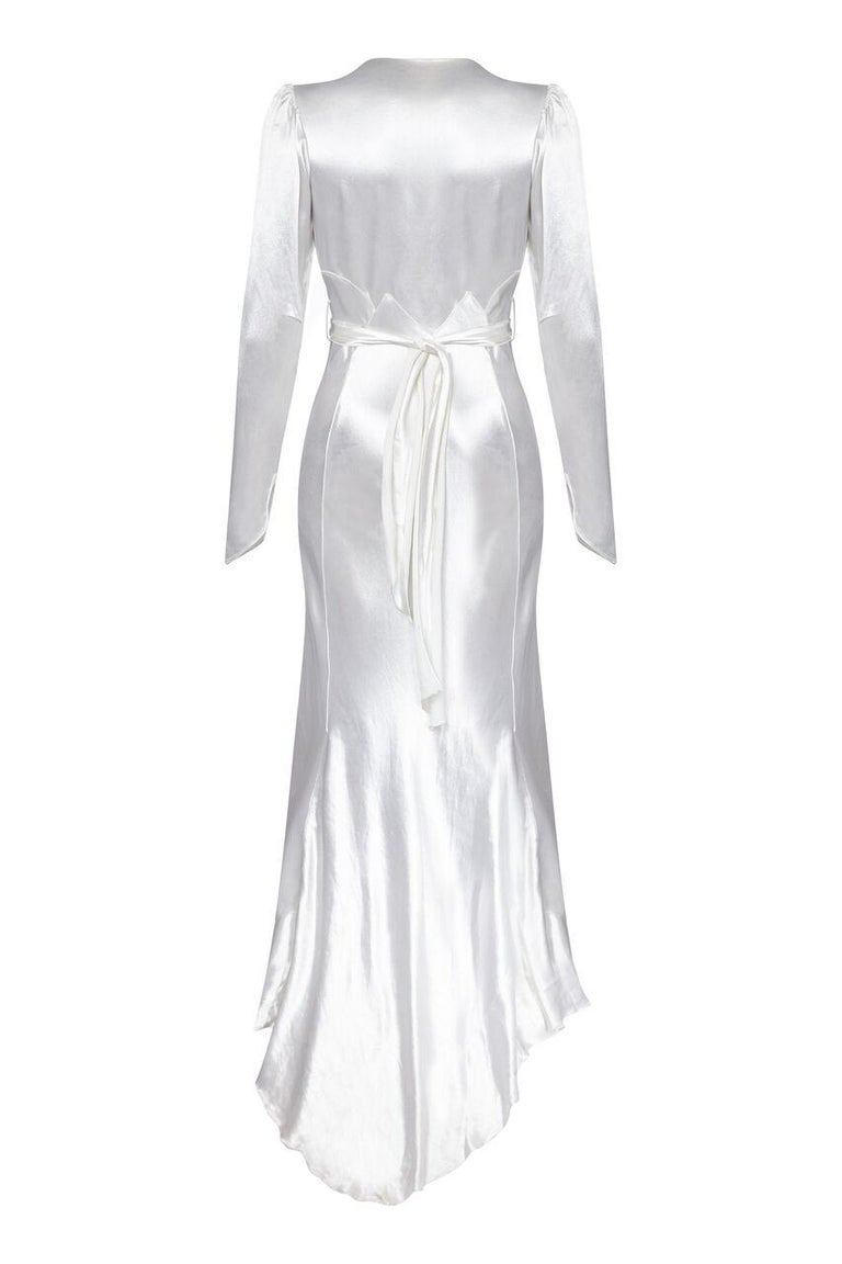 Original White Silk Satin Bias Cut Wedding Dress with Long Sleeves ...