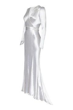 Original 1930s White Silk Satin Bias Cut Wedding Dress with Long Sleeves