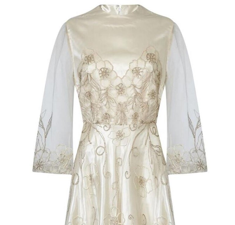 Beige Late 1950s Ivory Wedding Dress With Delicate Embroidery Sold With Original Box For Sale