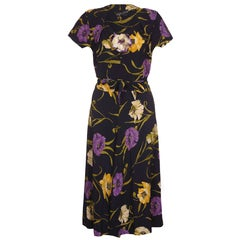 Klafter & Sobel Navy Rayon Floral Crepe Dress with Corsage, 1940s