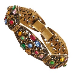 1930s Bohemian Multi-Coloured Czech Glass Gilt Metal Bracelet