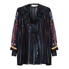 "1970s Zandra Rhodes 'Studio 54"" Multicolour Striped and Handpainted Blouse"