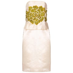 1960s Cream Silk Couture Dress with Elaborate Green Floral Beading
