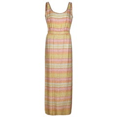 1960s Mollie Parnis Pastel Beaded Column Dress