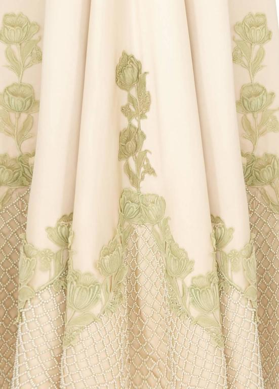 Exceptional 1950s Couture Made Cream Silk Gown 4