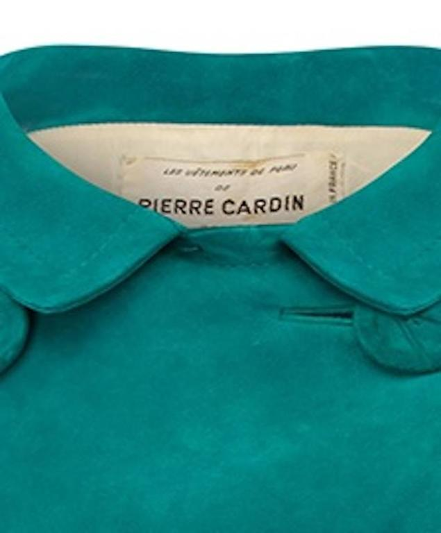 1960s Pierre Cardin Teal Suede Jacket 3