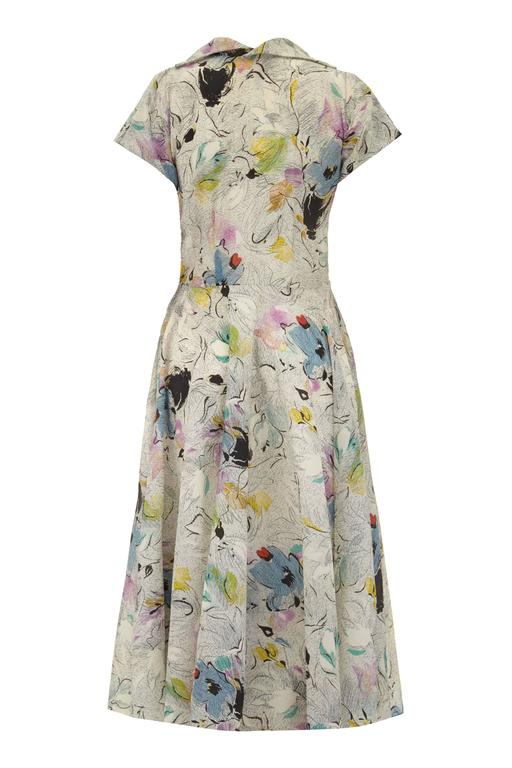 1950s Grey Textured and Printed Vintage Dress  2