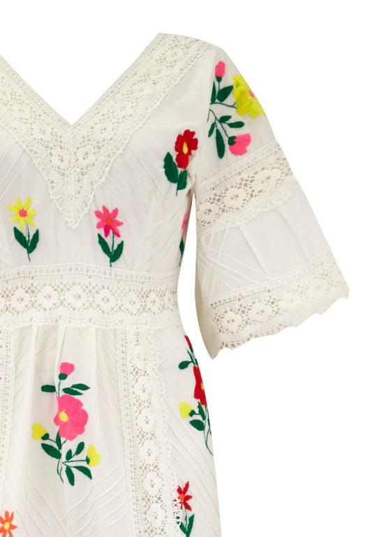1970s Vintage Mexican Wedding Dress with Embroidery  3
