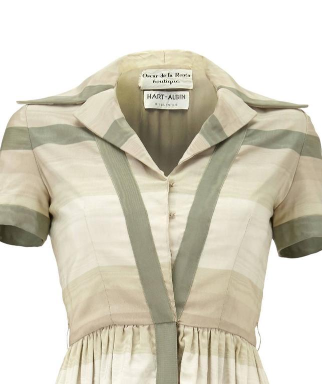 Beige 1960s Oscar de la Renta Grey Silk Shirt-Waister Dress For Sale