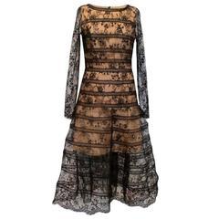 Oscar De La Renta Chantilly Lace Overlay Midi Dress