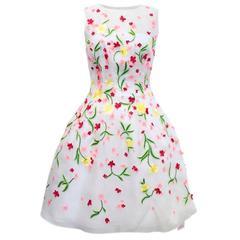 Oscar de la Renta White Mesh Dress with Floral Embelishment