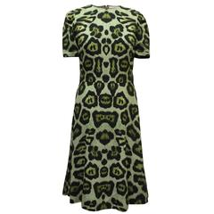 Givenchy Green Leopard Print Dress with Distressed Hem