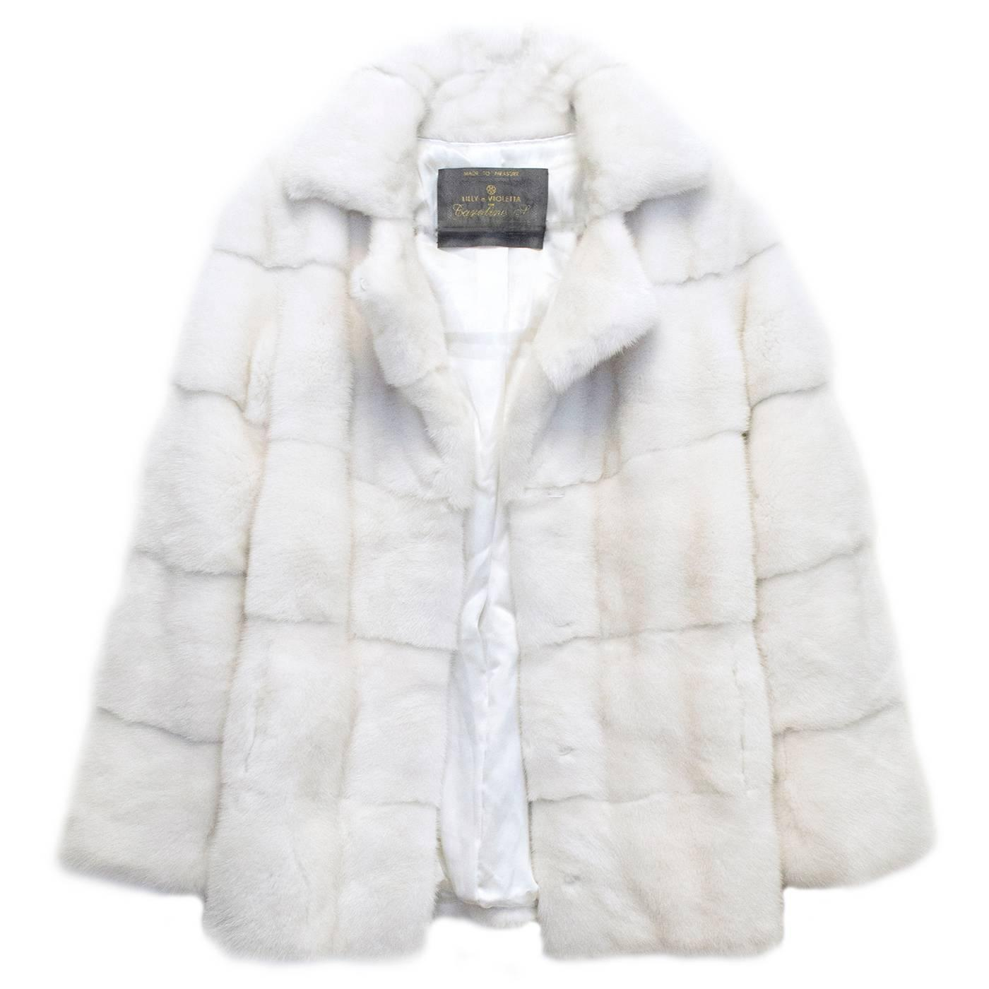 Lilly e Violetta White Natural Mink Fur Coat For Sale at 1stdibs