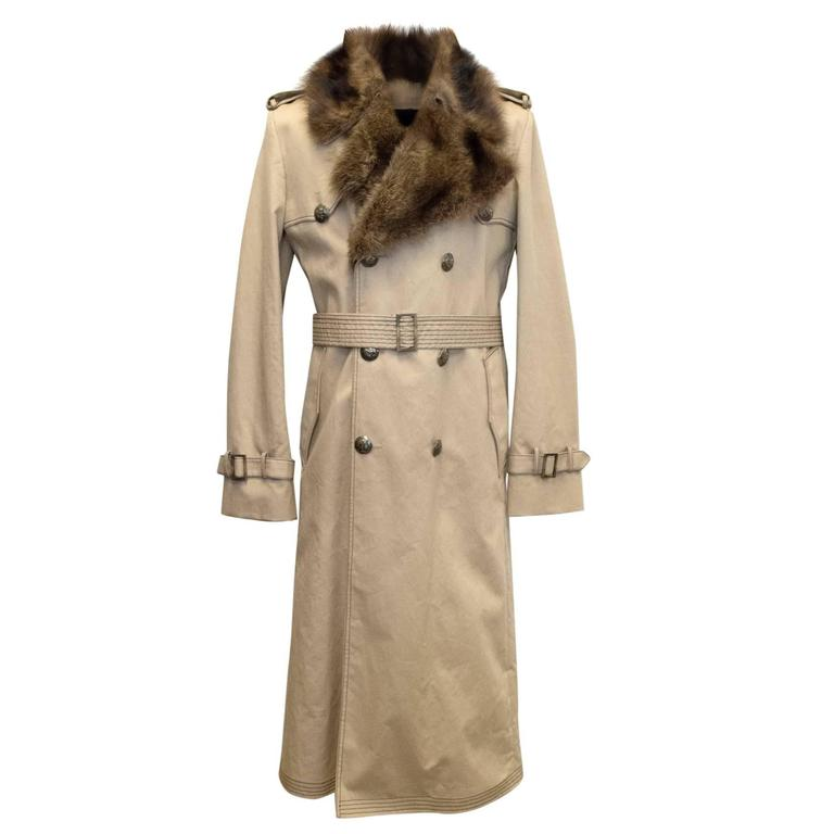 Fendi Men's detachable fur lined trench coat For Sale at ...
