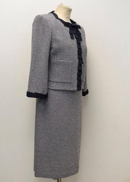St. John Houndstooth Navy & White Dress and Jacket 4