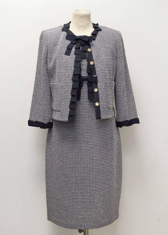 St. John Houndstooth Navy & White Dress and Jacket 3